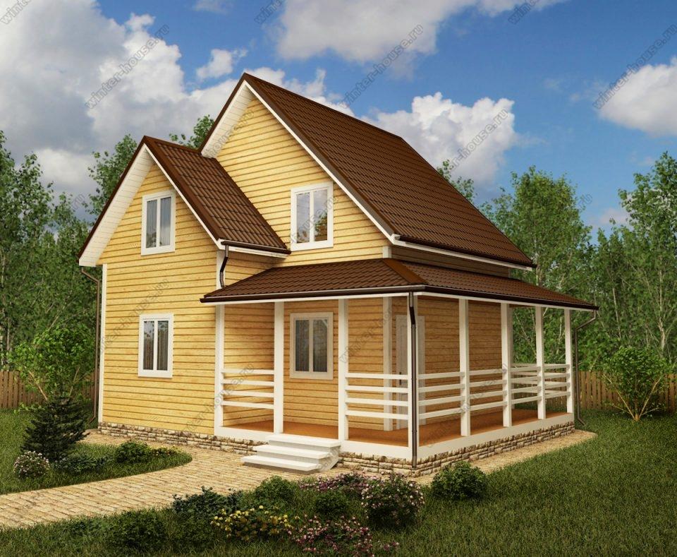 Проект двухэтажного дома для постоянного проживания 7 на 8,5 с террасой