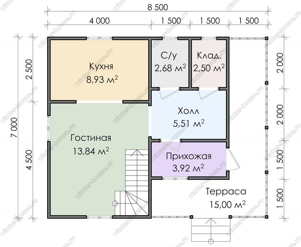 Планировка двухэтажного дома для постоянного проживания 7 на 8,5 с террасой