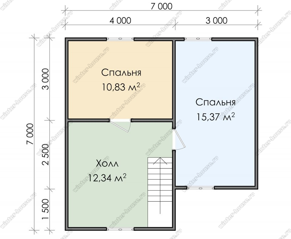 План двухэтажного дома для постоянного проживания 7х8,5 с террасой