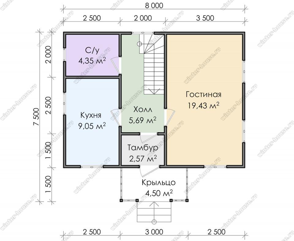 Планировка дома для постоянного проживания 7,5 на 8 с мансардой