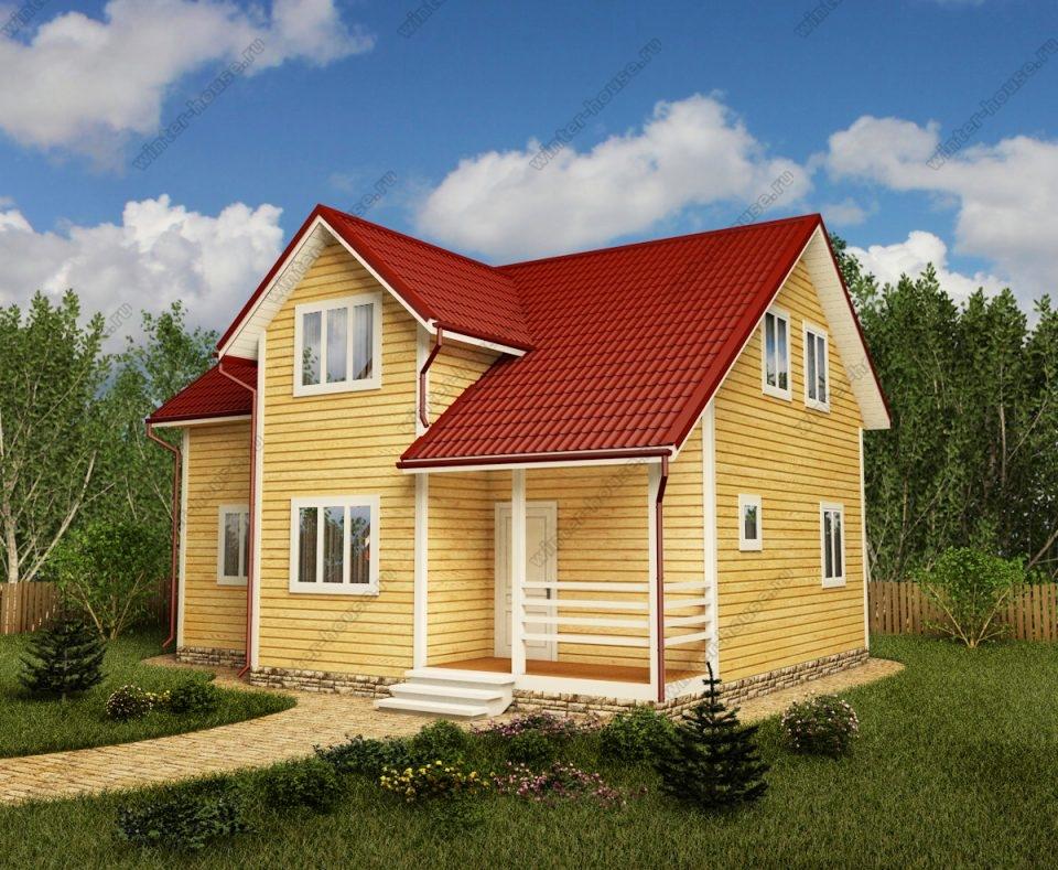 Проект двухэтажного дома для постоянного проживания 8 на 10 с террасой