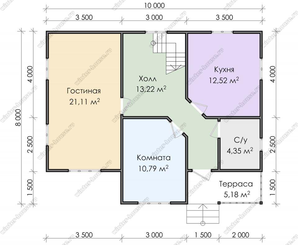 Планировка двухэтажного дома для постоянного проживания 8 на 10 с террасой