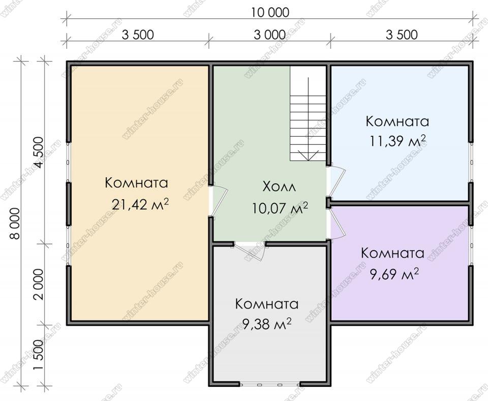 План двухэтажного дома для постоянного проживания 8х10 с террасой