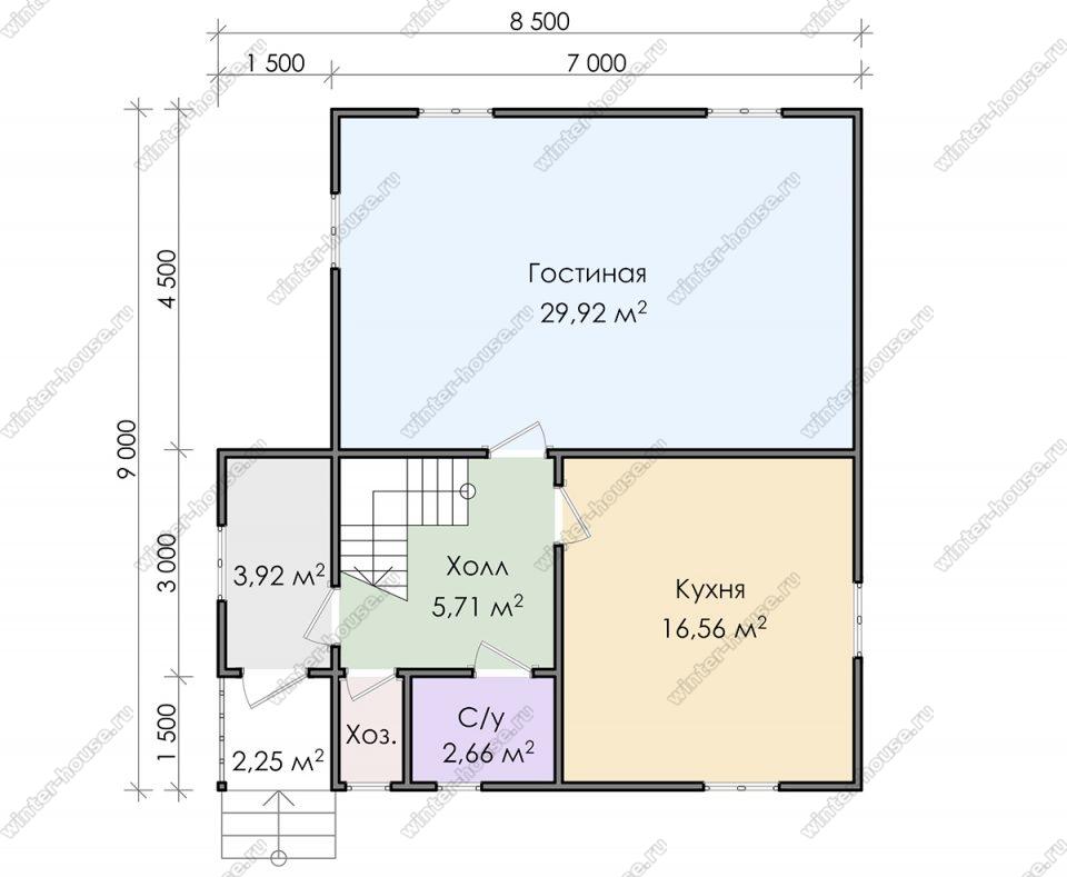 Планировка двухэтажного дома для постоянного проживания 8,5 на 9