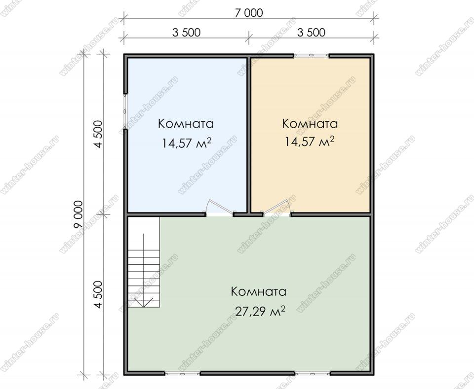 План двухэтажного дома для постоянного проживания 8,5х9