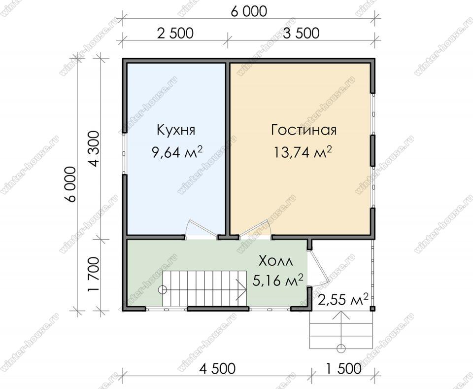 Планировка дачного дома 6 на 6 с мансардой