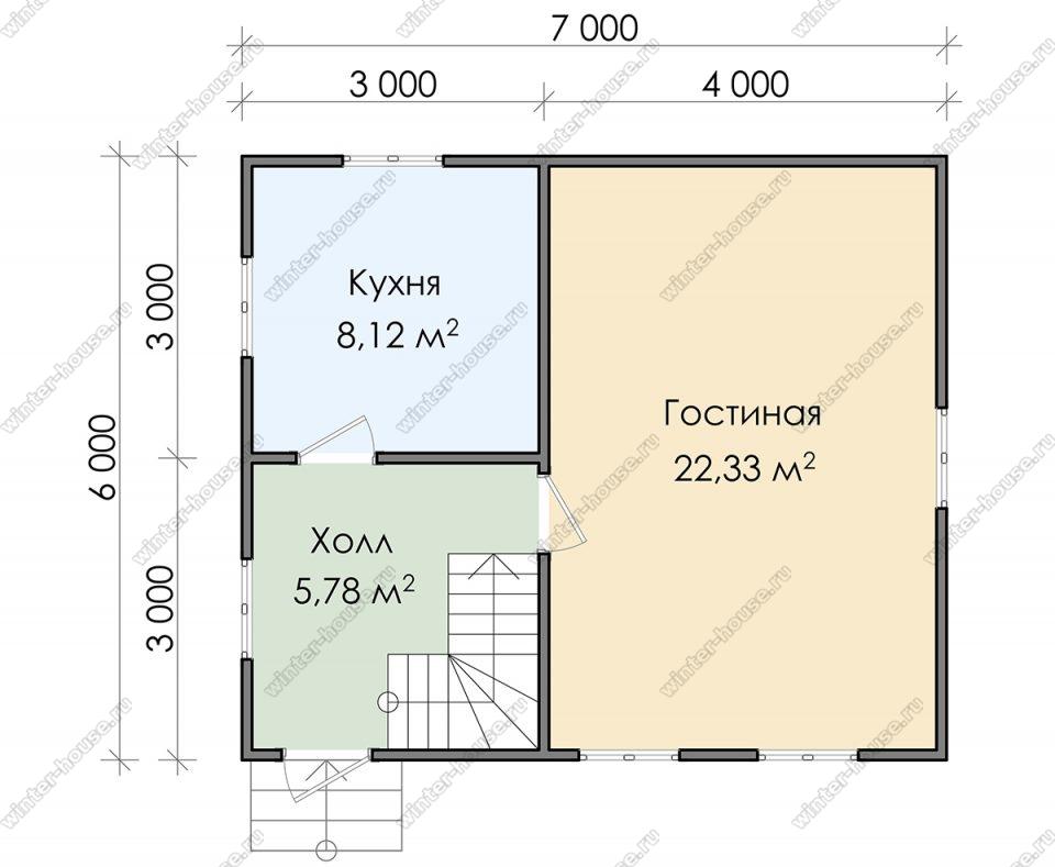 Планировка двухэтажного дома для постоянного проживания 6 на 7