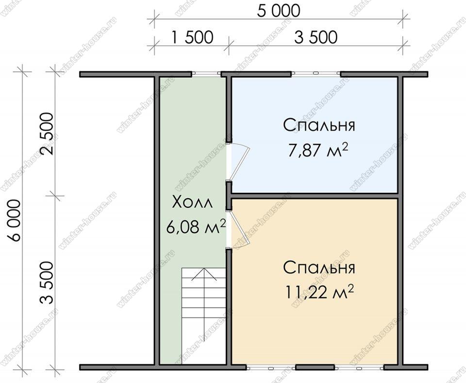 План двухэтажного дома для постоянного проживания 6х7