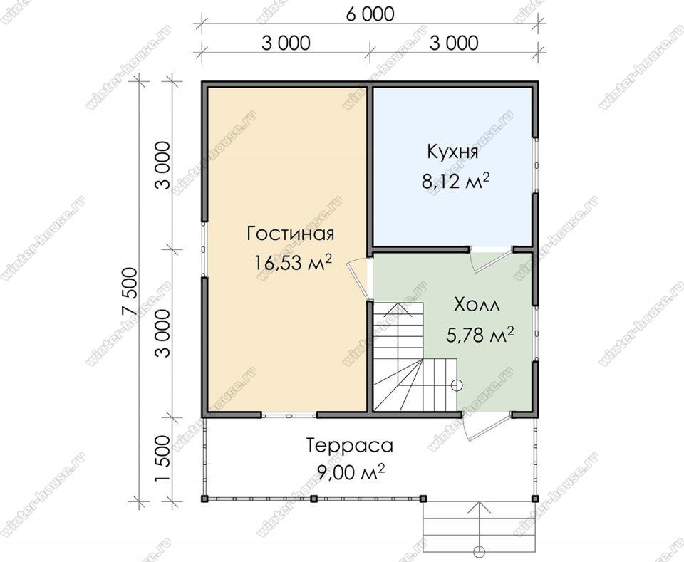 Планировка дачного дома 7,5 на 6 с мансардой и террасой