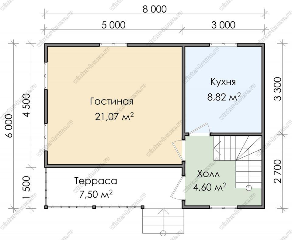 Планировка двухэтажного дома для постоянного проживания 6 на 8