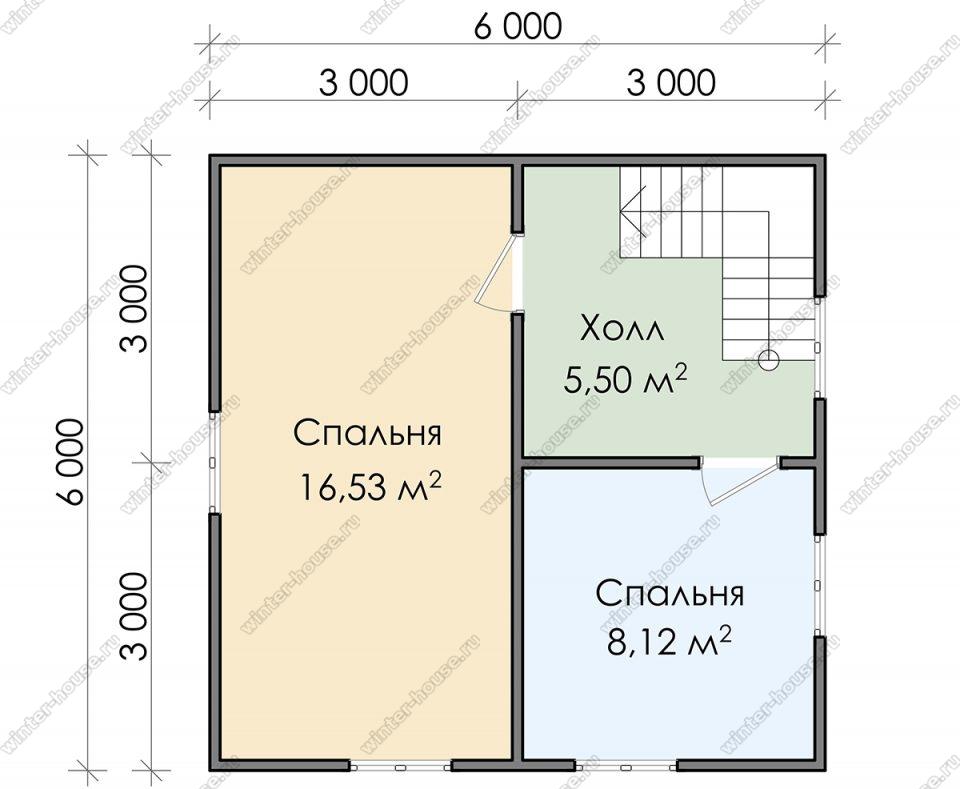 План двухэтажного дома для постоянного проживания 6х8
