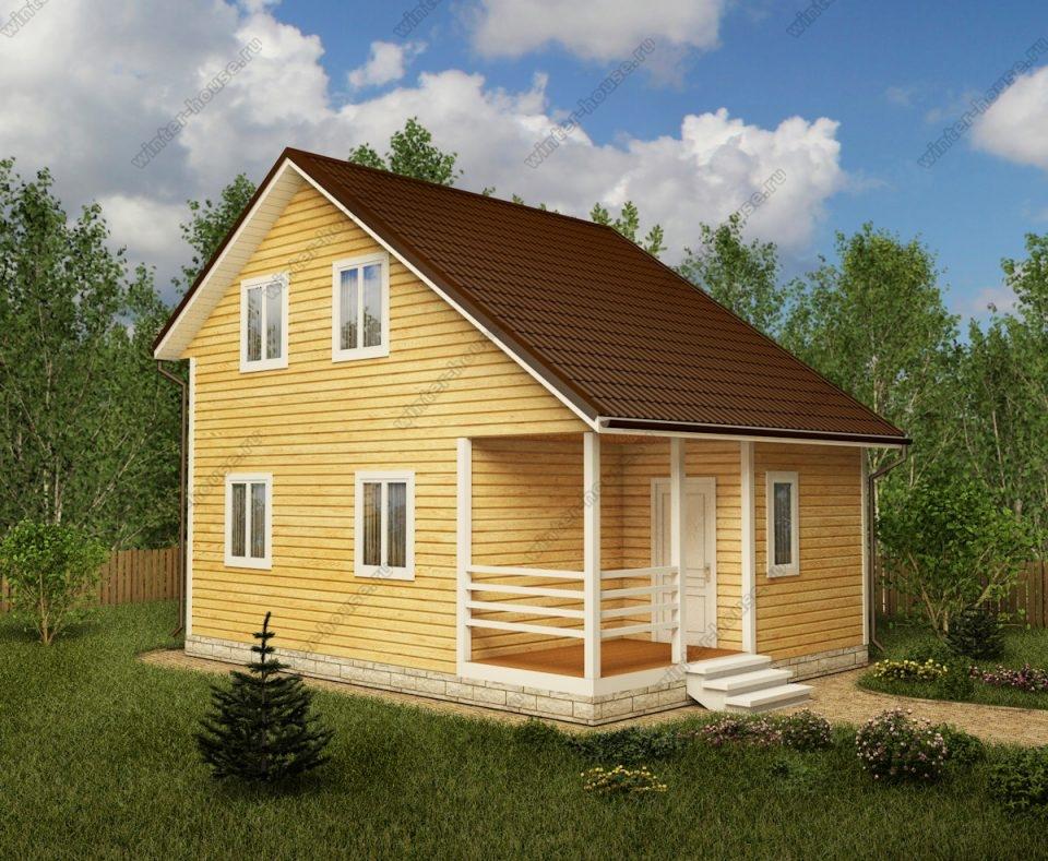 Проект двухэтажного дома для постоянного проживания 6 на 8 с террасой