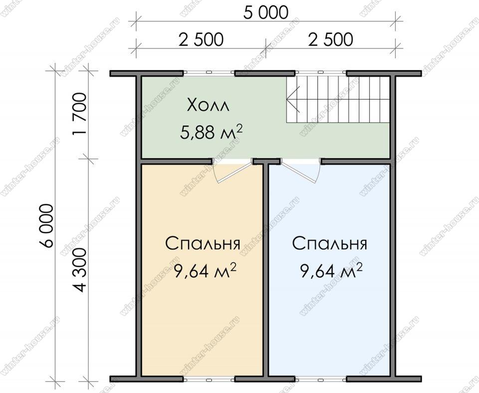 План двухэтажного дома для постоянного проживания 6х8 с террасой