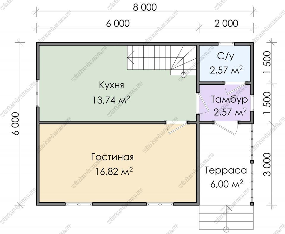 Планировка дома для постоянного проживания 6 на 8 с мансардой и террасой