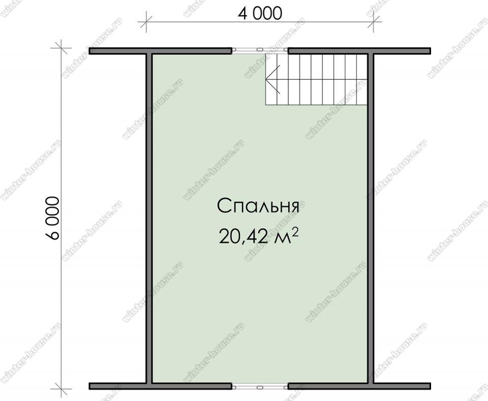 План дома для постоянного проживания 6х8 с мансардой и террасой
