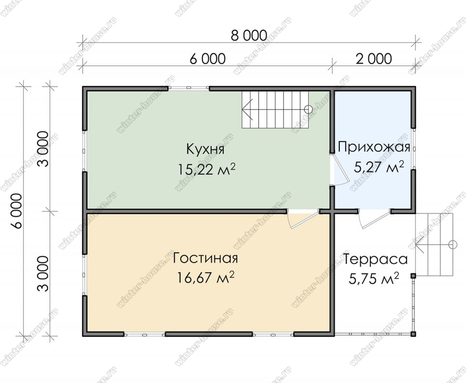 Планировка двухэтажного дома для постоянного проживания 6 на 8 с террасой