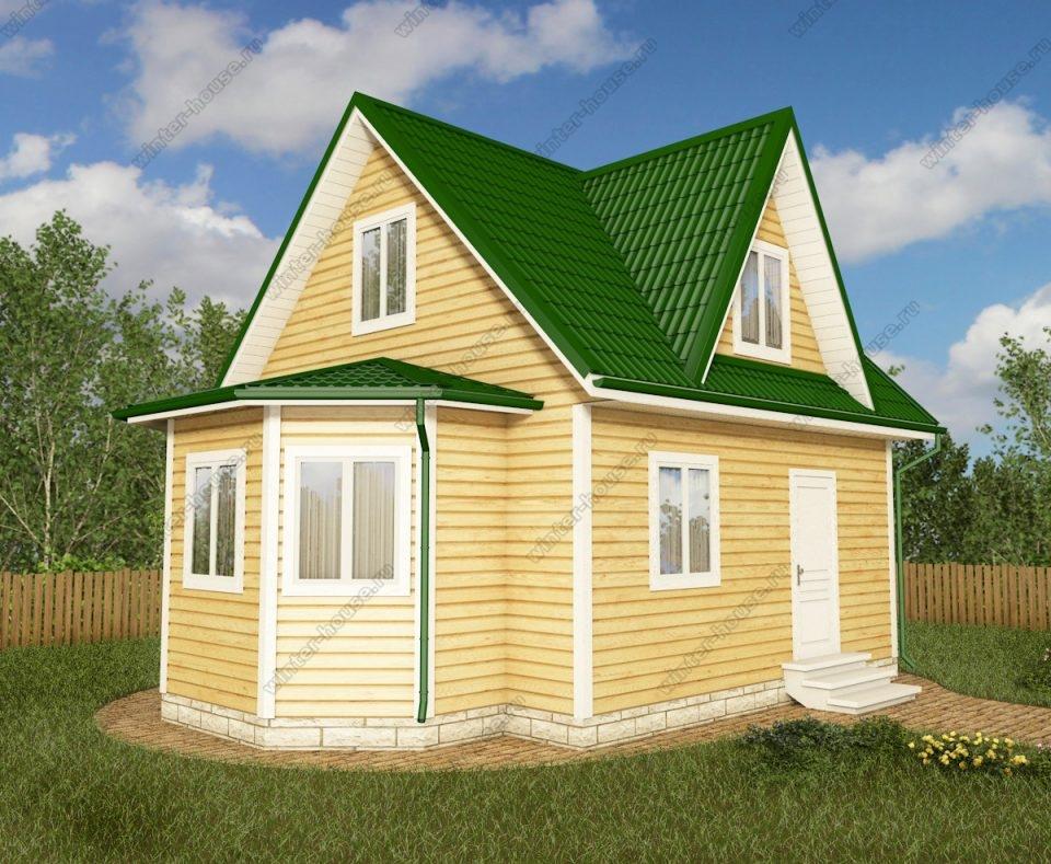Проект дачного дома 6 на 8 с мансардой