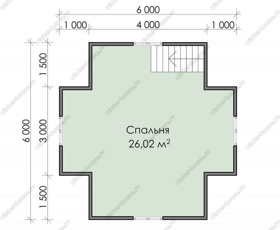 План дачного дома 6х8 с мансардой