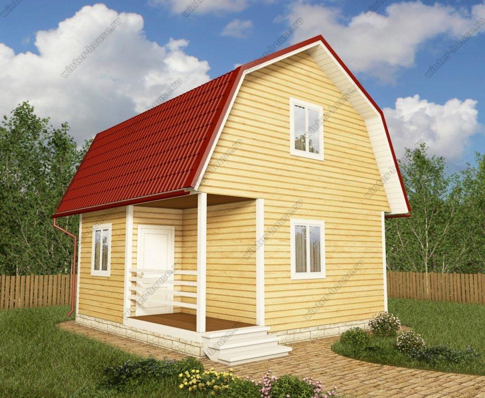 Проект дачного дома 6 на 6 с мансардой и террасой