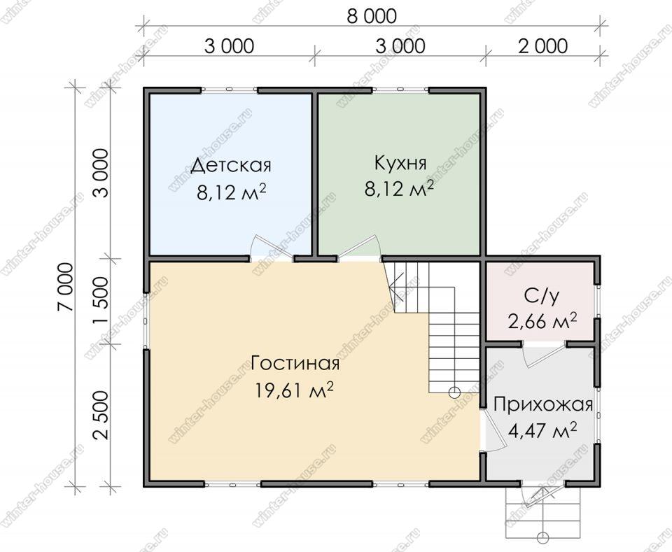 Планировка дома для постоянного проживания 7 на 8 с мансардой
