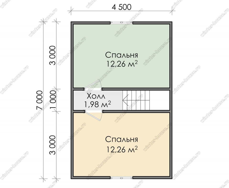 План дома для постоянного проживания 7х8 с мансардой