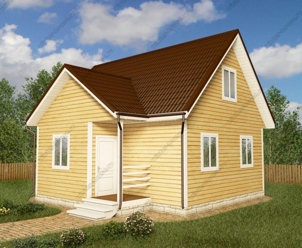 Проект дома для постоянного проживания 7,5 на 8 с мансардой