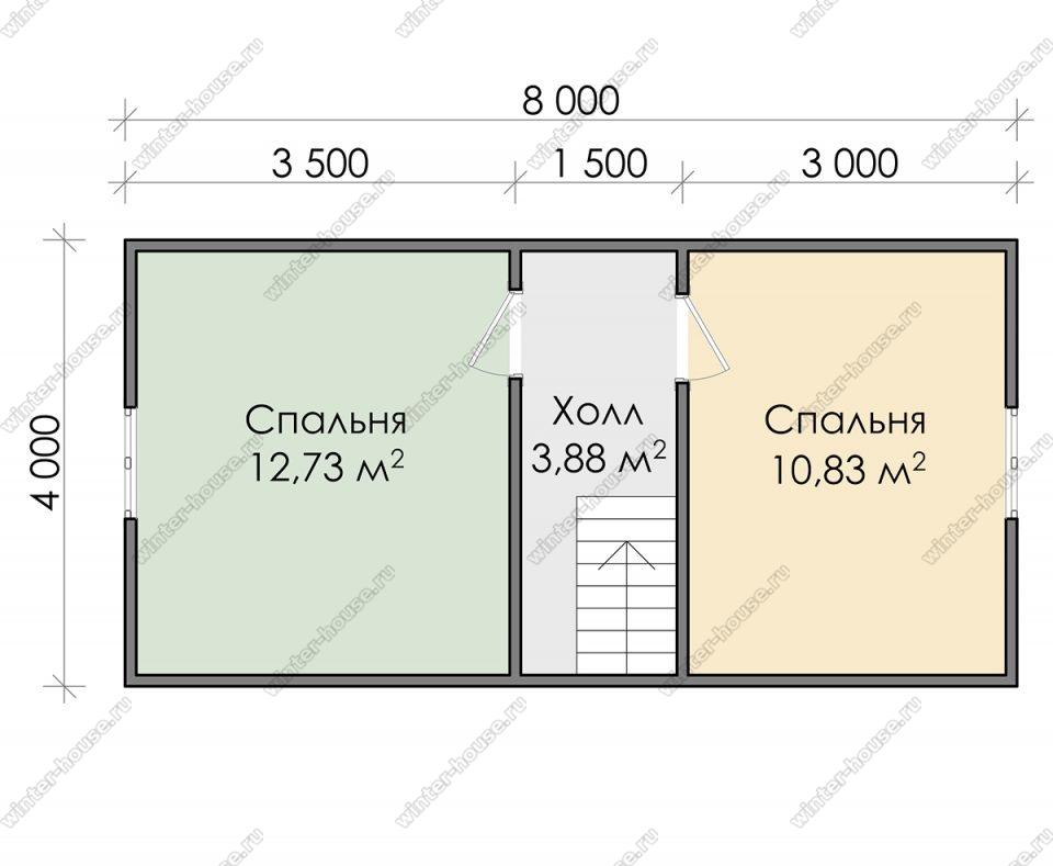 План дома для постоянного проживания 7,5х8 с мансардой