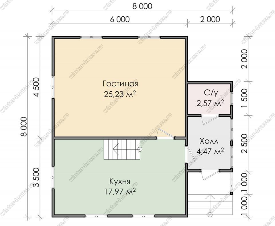 Планировка двухэтажного дома для постоянного проживания 8 на 8