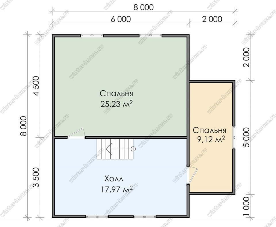 План двухэтажного дома для постоянного проживания 8х8