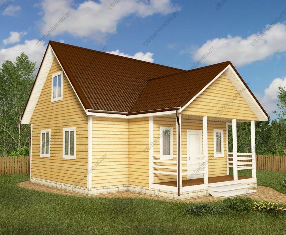 Проект дома для постоянного проживания 9 на 9 с мансардой и террасой