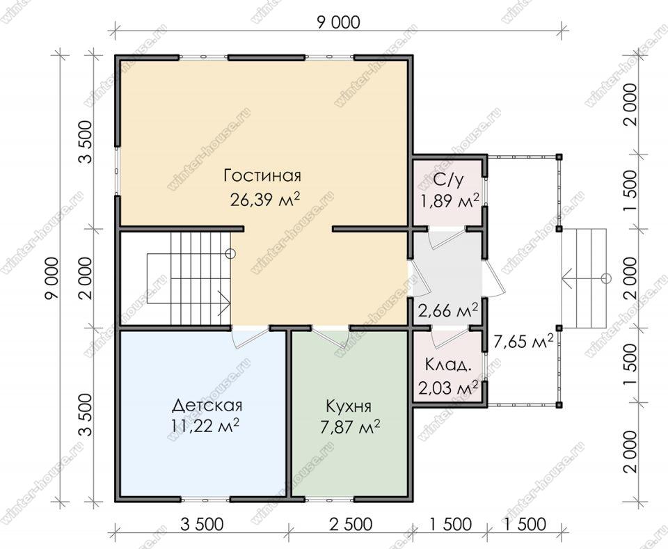 Планировка дома для постоянного проживания 9х9 с мансардой и террасой