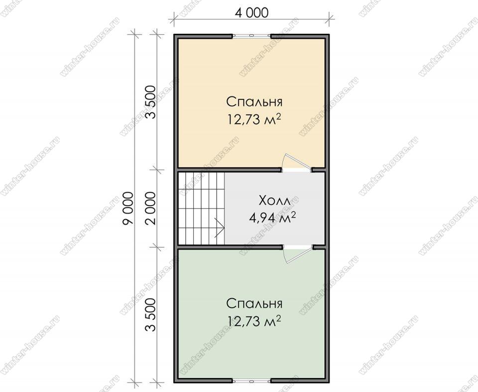 План дома для постоянного проживания 9х9 с мансардой и террасой