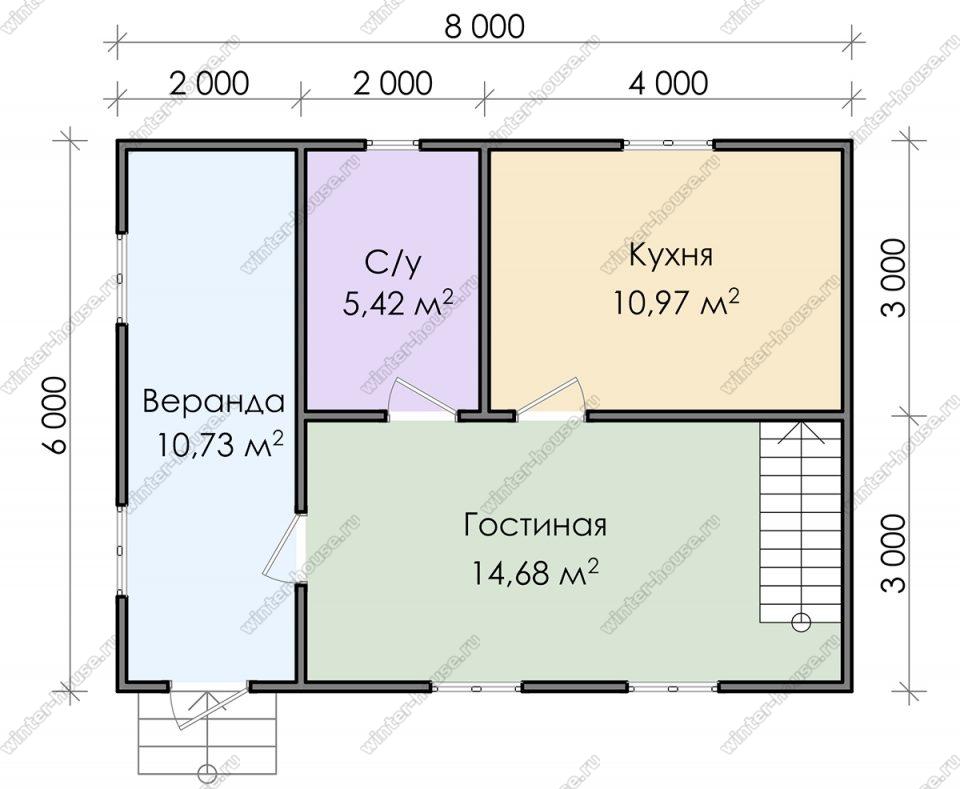 Планировка дачного дома 6 на 8 с мансардой