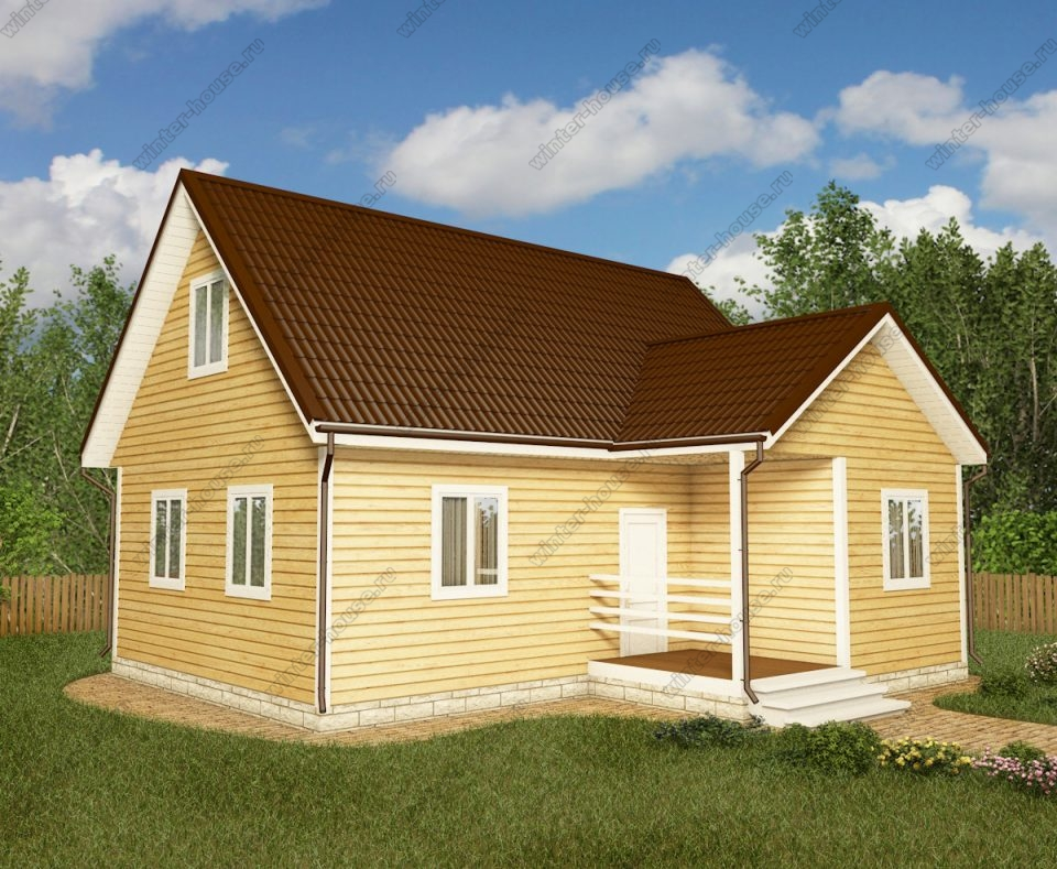 Проект дома для постоянного проживания 8,5 на 9 с мансардой и террасой