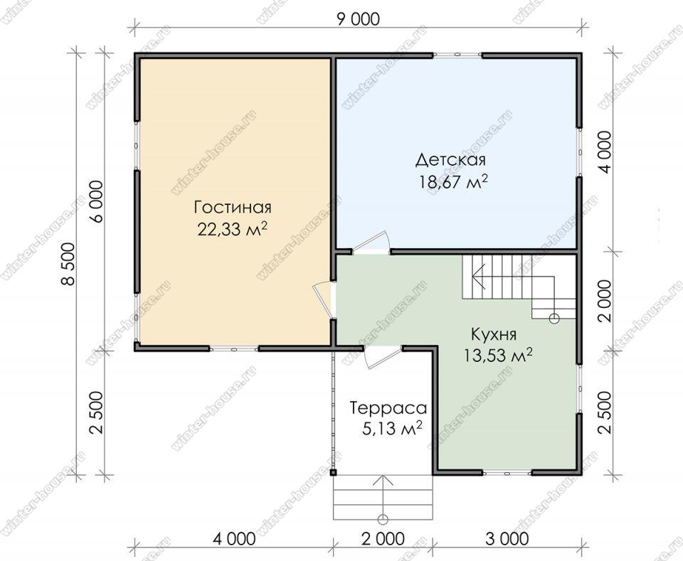 Планировка дома для постоянного проживания 8,5 на 9 с мансардой и террасой