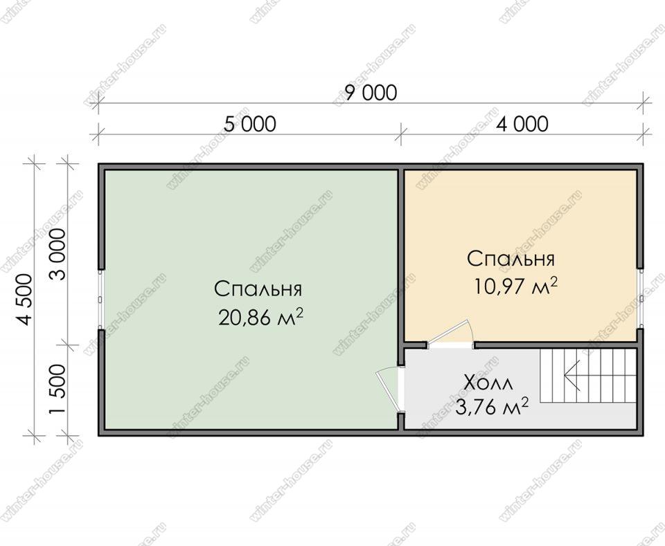 План дома для постоянного проживания 8,5х9 с мансардой и террасой
