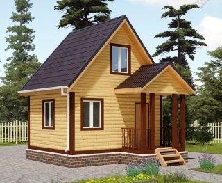 Проект дачного дома 4 на 5 с мансардой и террасой