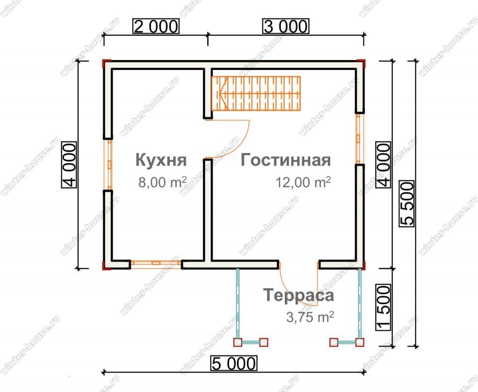 Планировка дачного дома 4 на 5 с мансардой и террасой