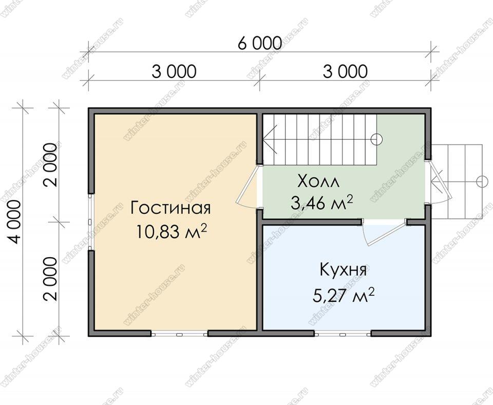 Планировка дачного дома 4 на 6 с мансардой