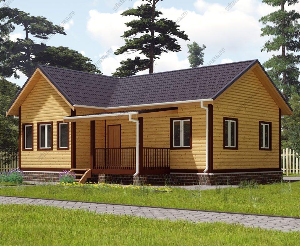 Проект одноэтажного дома для постоянного проживания 8 на 10 с террасой