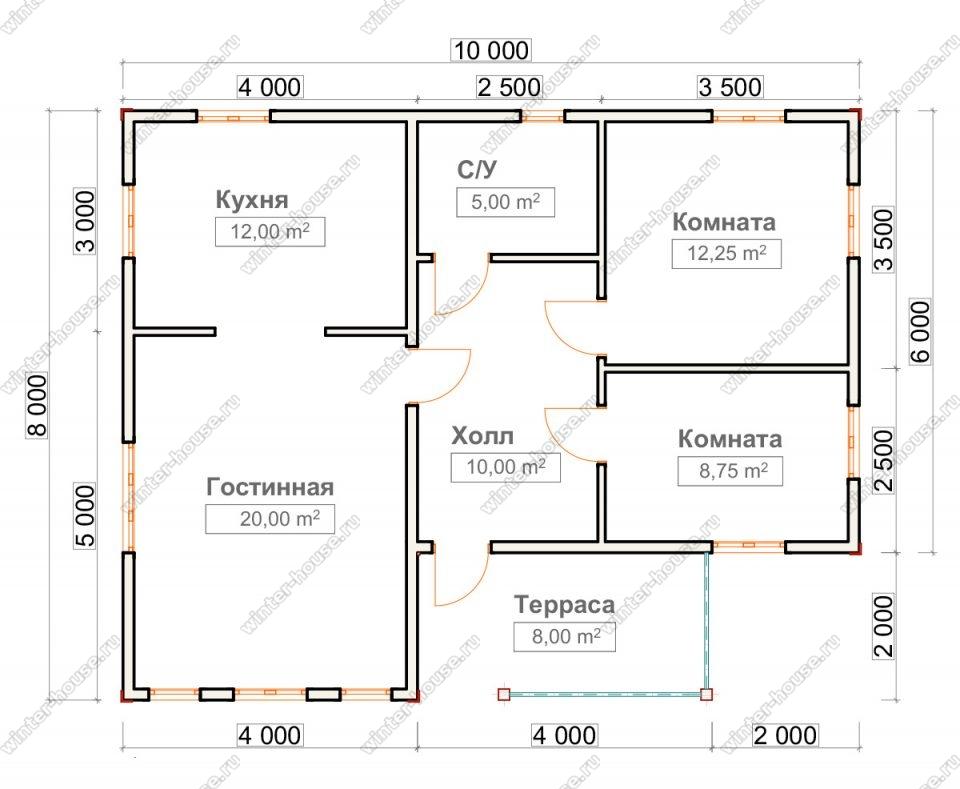 Планировка одноэтажного дома для постоянного проживания 8 на 10 с террасой