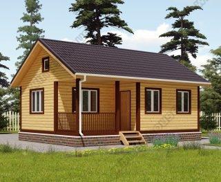 Проект одноэтажного дома для постоянного проживания 6 на 8 с террасой