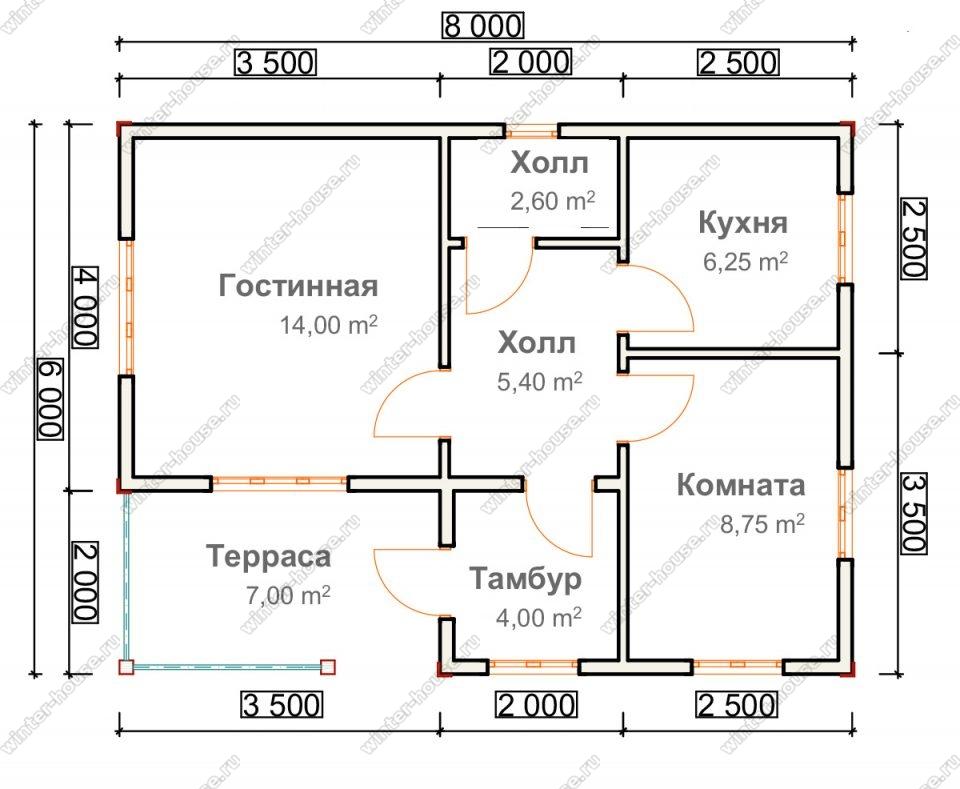 Планировка одноэтажного дома для постоянного проживания 6 на 8 с террасой