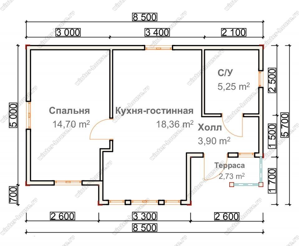 Планировка одноэтажного дома для постоянного проживания 6 на 8,5 с террасой