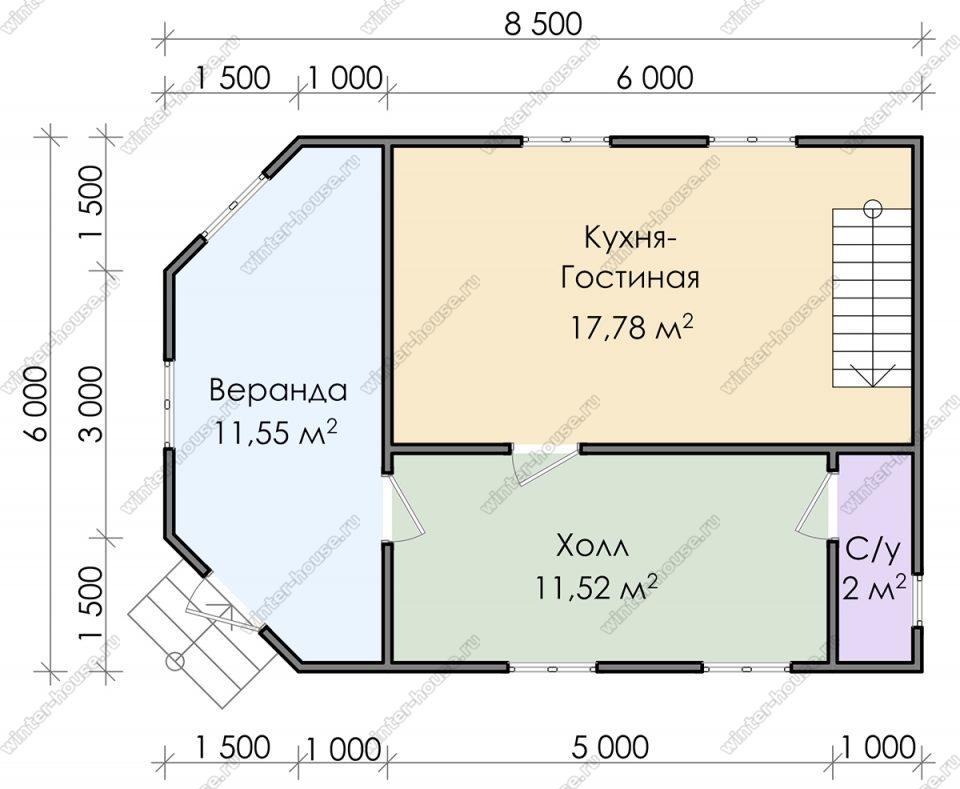 Планировка дома для постоянного проживания 8,5 на 6 с мансардой