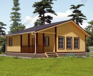 Проект одноэтажного дома для постоянного проживания 9 на 9 с террасой