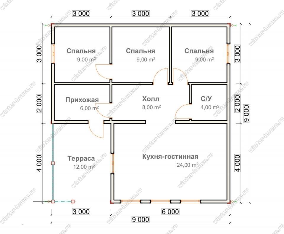Планировка одноэтажного дома для постоянного проживания 9 на 9 с террасой