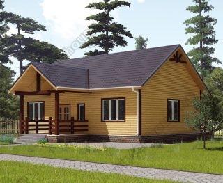 Проект одноэтажного дома для постоянного проживания 11 на 12 с террасой