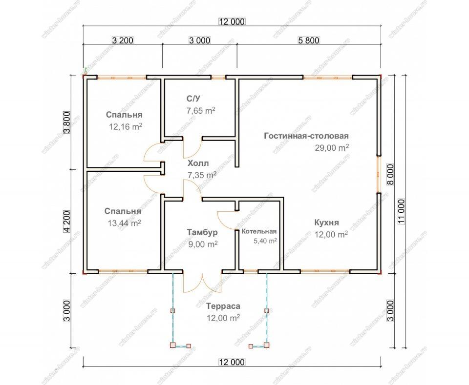 Планировка одноэтажного дома для постоянного проживания 11 на 12 с террасой