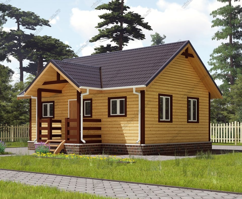 Проект одноэтажного дома для постоянного проживания 7,5 на 8 с террасой